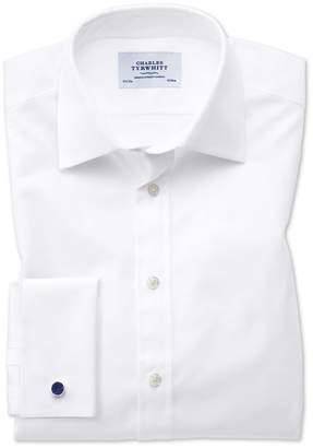 Charles Tyrwhitt Slim Fit Oxford White Cotton Dress Shirt Single Cuff Size 16/33