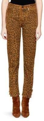 Saint Laurent Leopard Print Slim-Fit Jeans