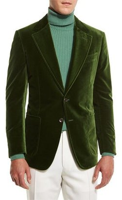 TOM FORD Shelton Base Velvet Sport Jacket, Grass Green $3,440 thestylecure.com
