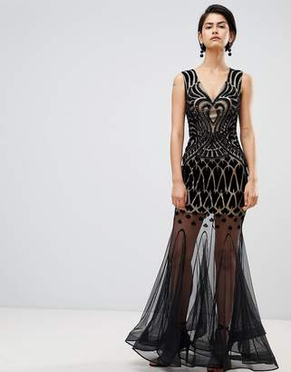 Forever Unique Embellished Maxi Dress With Sheer Skirt