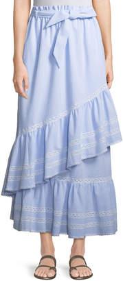Jonathan Simkhai Long Striped Seersucker Ruffled Skirt