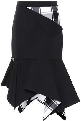 Monse Asymmetric plaid-paneled skirt