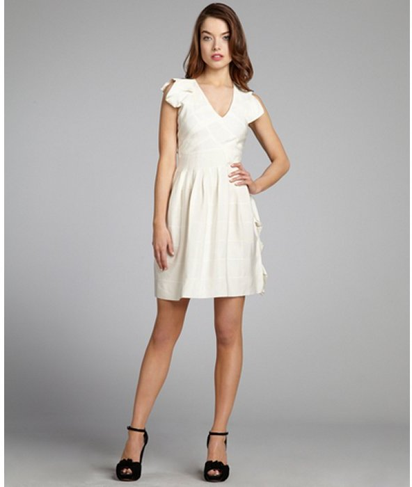 Cynthia Rowley white grosgrain ribbon banded silk organza paneled dress