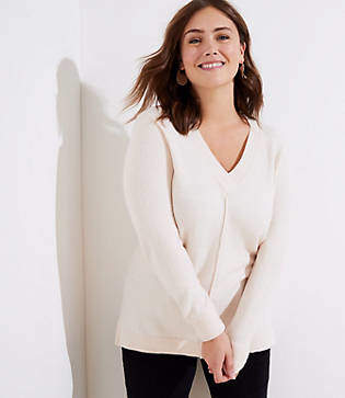 LOFT Plus Drop Shoulder V-Neck Sweater