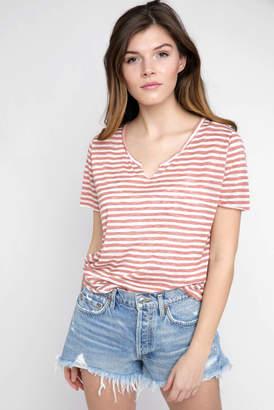 Project Social T Suzie Linen Knit Stripe Slit V Neck T Shirt
