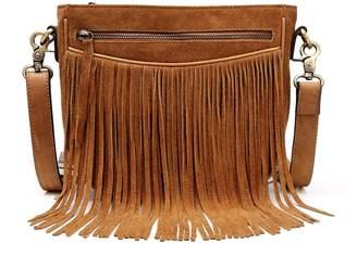 Vicenzo Leather Ivonne Suede leather Fringe Crossbody Handbag