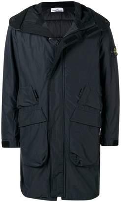 Stone Island logo sleeve hooded coat