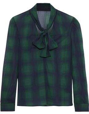 RED Valentino Pussy-Bow Checked Silk-Blend Chiffon Blouse