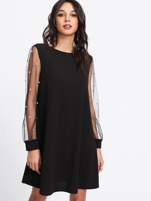 Shein Pearl Beading Mesh Sleeve Tunic Dress