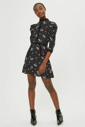 Topshop Tall Star Floral Lace Mini Skater Dress