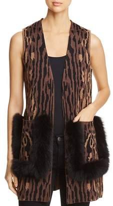Bloomingdale's Kobi Halperin Ginnette Fur-Trimmed Animal Print Sweater Vest