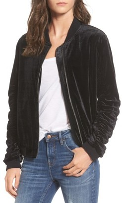 Women's Soprano Ruched Velvet Bomber $55 thestylecure.com