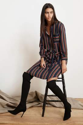 Velvet by Graham & Spencer PERO STRIPE CHALLIS BUTTON-UP DRESS
