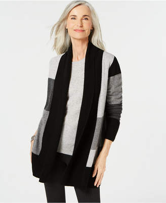 Charter Club Pure Cashmere Checkered Cardigan, Created for Macy's