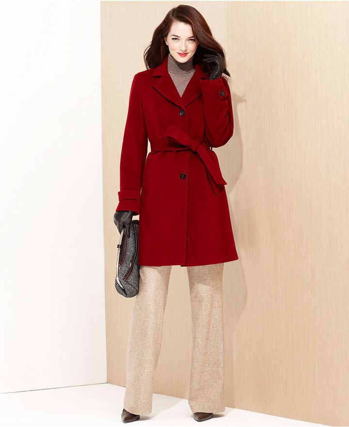 Anne Klein Coat, Belted Cashmere-Wool-Blend