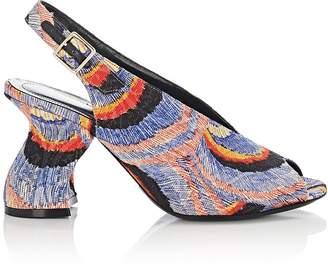 Dries Van Noten Women's Slanted-Heel Jacquard Sandals