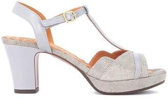 Chie Mihara Belina Grey And Metallic Leather Heeled Sandal