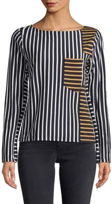 10 CROSBY DENIM Women's Boatneck Stripe T-Shirt