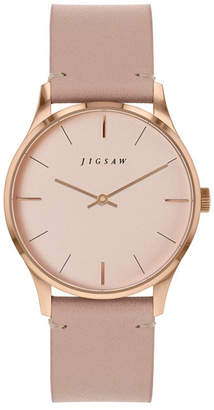 Jigsaw Ladies Watch, Round Rose Gold Stainless Steel Case, Rose Gold Dial, Genuine Leather Strap