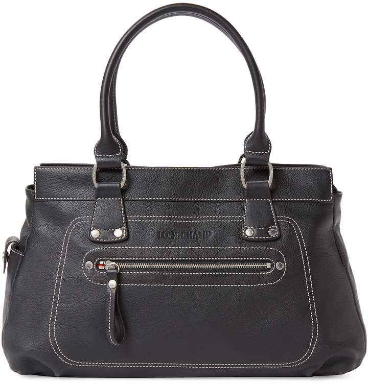 Longchamp Women's Medium Leather Long Handle Tote - BLACK - STYLE