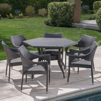 Noble House Renee Outdoor 7 Piece Wicker Hexagon Dining Set with Stacking Chairs,Grey