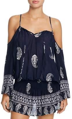 Surf Gypsy Cold Shoulder Smock Waist Dress Swim Cover-Up $86 thestylecure.com