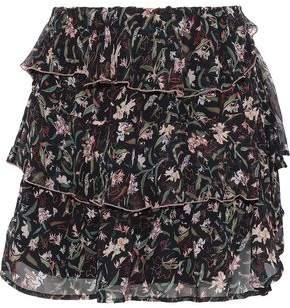 IRO Brooks Tiered Floral-Print Chiffon Mini Skirt
