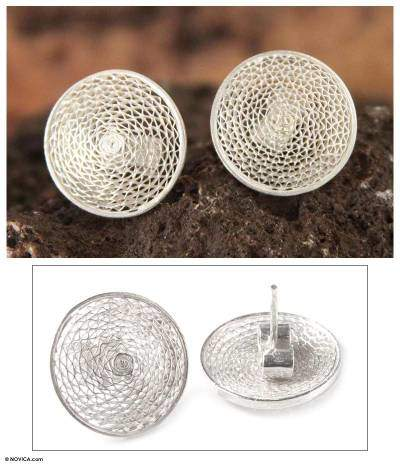 Sterling Silver Button Earrings, 'Starlit Moon'