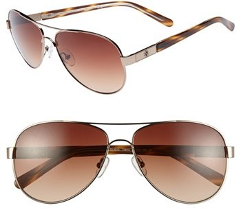 Tory Burch 57mm Metal Aviator Sunglasses with Resin Temples