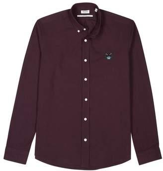 Kenzo Logo-embroidered Brushed Cotton Twill Shirt