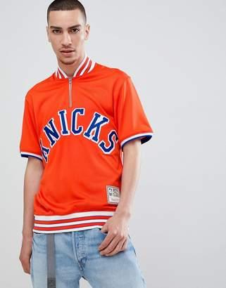 Mitchell & Ness NBA New York Knicks short sleeve sweatshirt with zip