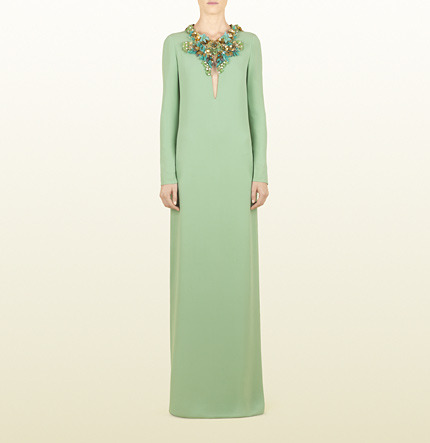 Gucci Pale Jade Light Sablé Gown With Hand Embroidered Floral Neckline