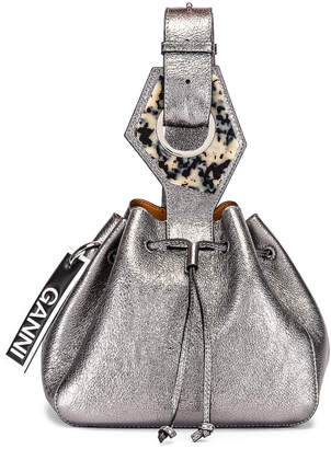 Ganni Leather Bag in Dark Silver | FWRD