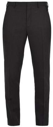 Lanvin Contrast Panel Slim Leg Wool Trousers - Mens - Grey