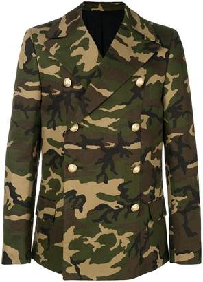 Balmain camouflage double-breasted coat