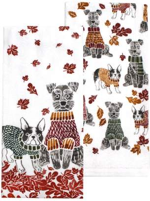 Celebrate Fall Together Sweater Weather Dog Kitchen Towel 2-pack