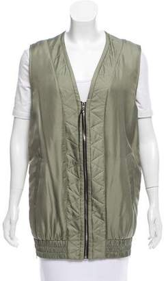 Rag & Bone Silk Zipper-Accented Vest