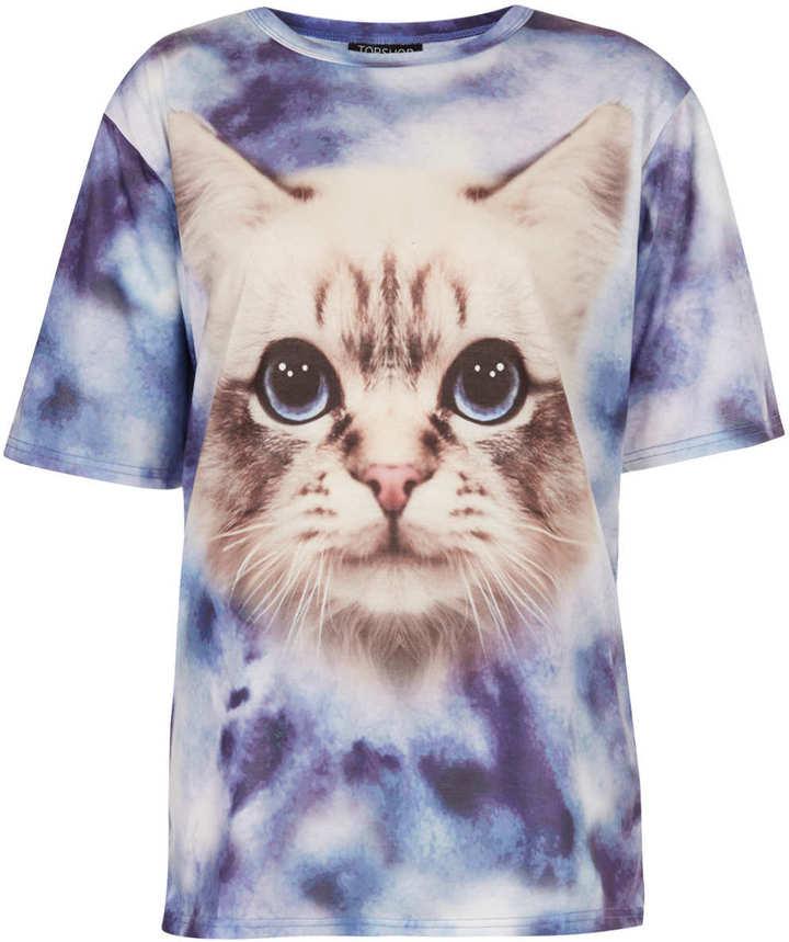 Topshop Tie Dye Cat Tee