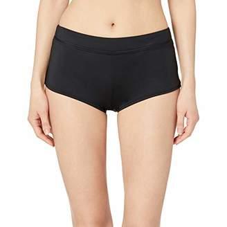 O'Neill Women's Banded Boyshort Bikini Swimsuit Bottom, Black/Salt Water Solids SP19