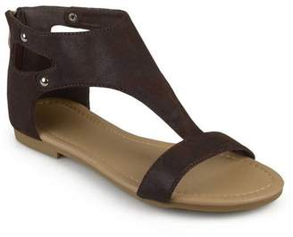 Co Brinley Womens Metal Detail Flat Faux Leather Sandals