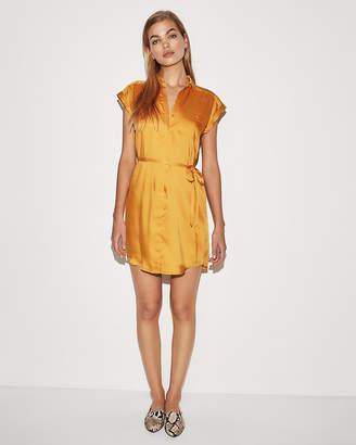 Express Solid Short Sleeve Shirt Dress