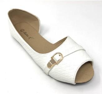 Victoria K Women's Textured Open Toe With Gold Buckle Ballerina Flats