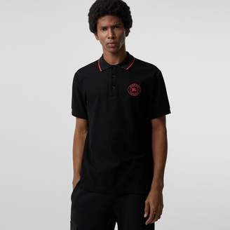 Burberry Embroidered Logo Cotton Piqué Polo Shirt
