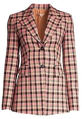 Michael Kors Women's Plaid Wool Blazer - Size 0