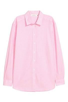 H&M Cotton Shirt - Light pink/white checked - Women