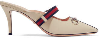 3e992e35be9 Gucci Emma Horsebit-detailed Grosgrain-trimmed Leather Mules - White