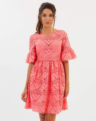 Aztek Guipure Lace Open Back Mini Dress