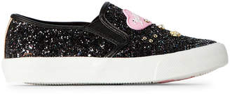 Juicy Couture Toddler/Kids Girls) Black Paradise Embellished Glitter Slip-On Sneakers
