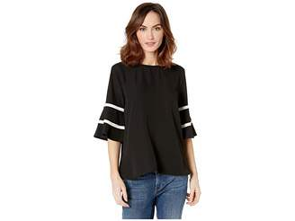 Calvin Klein 3/4 Sleeve Top with Flare and Piping