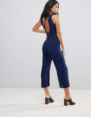 Goldie Chiffon Midi Length Jumpsuit With Frill Detail And Back Tie